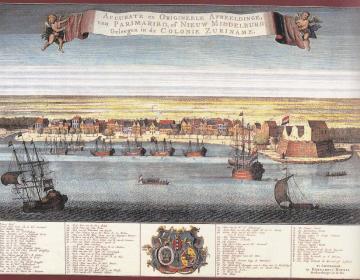 De Rede van Paramaribo met rechts het Fort Zeelandia. Ingekleurde gravure, 18e eeuw. Atlas van Stolk.