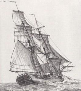 Een snauwschip, zoals d' Eenigheid. Gravure van Gerrit Groenewegen (1789), Rijksmuseum.