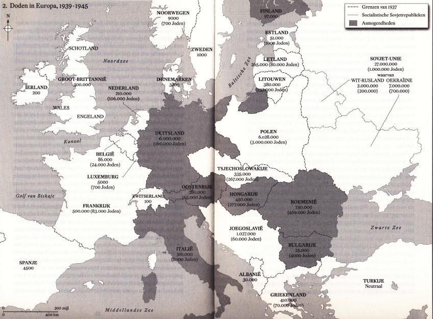 Kaart uit het boek met het aantal oorlogsslachtoffers in Europa.