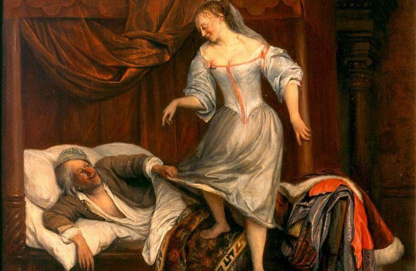 Paar in slaapvertrek, detail - Jan Steen, 1625-26 (Museum Bredius)
