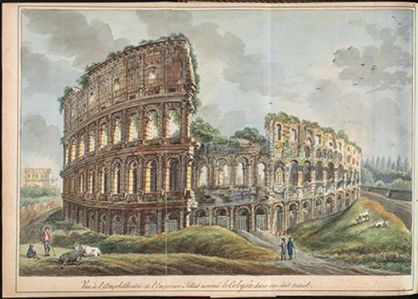 Tekening van het Colosseum van Joan Raye van Breukelerwaert (KB)