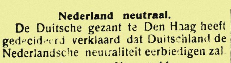 Bericht in het Bataviaasch Nieuwsblad van 5 augustus 1914 (Delpher)