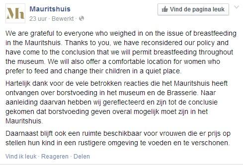 Bericht op Facebook over het borstvoedingsbeleid van het Mauritshuis