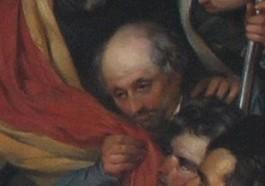 Louis de Potter kust de Belgische vlag. Detail van bovenstaand schilderij.