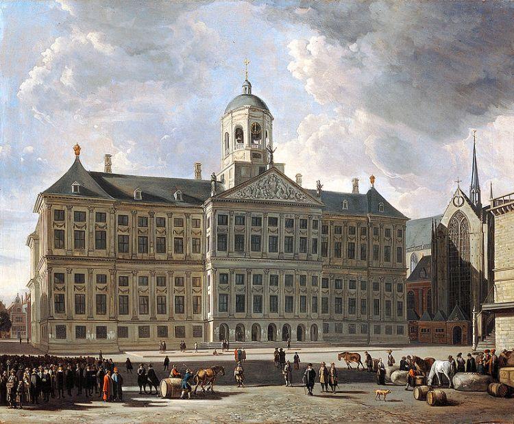 Het Paleis op de Dam, gebouwd op tienduizend heipalen afkomstig uit de Zweedse wouden (ca. 1670 - Gerrit Adriaenszoon Berckheyde)