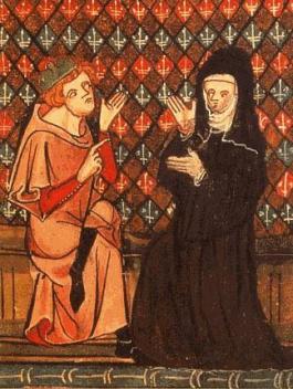 Héloïse en Abélard in het veertiende-eeuwse manuscript van het liefdesgedicht 'Roman de la rose' - cc
