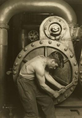 Lewis Hine, Powerhouse Mechanic, 1924. Courtesy of Howard Greenberg