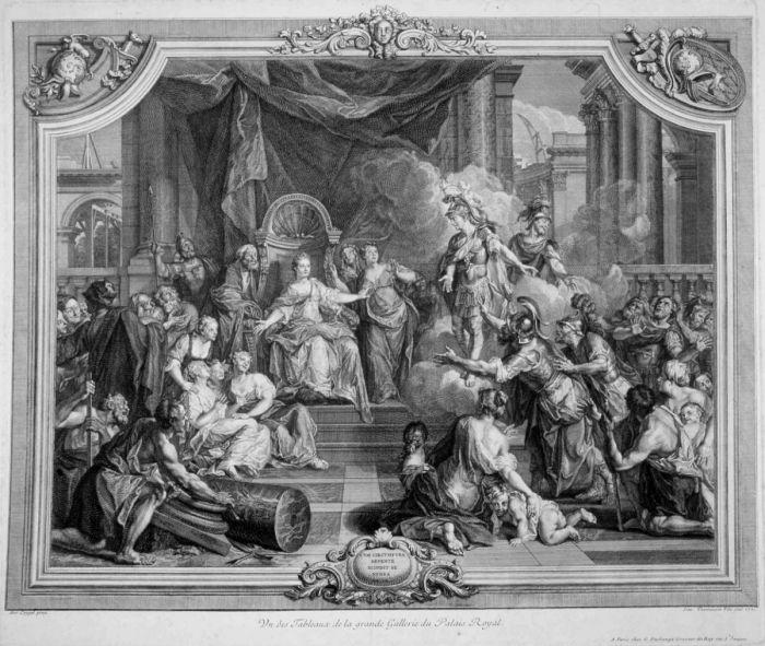 Prent: Hannibal en de strijd bij Zama, door onbekende kunstenaar. Papier, datering 1567, hoogte 44 cm. Collectie: Universitaire Bibliotheek Leiden