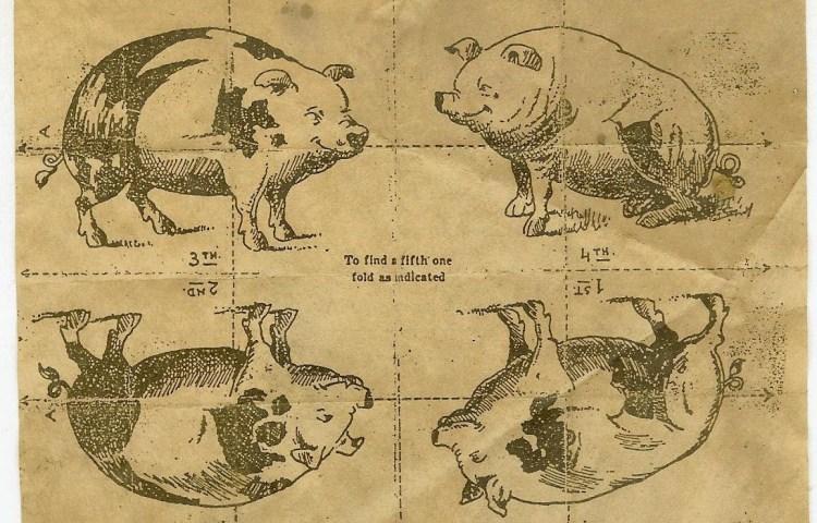 A4-tje dat tijdens de oorlog circuleerde. Door goed te vouwen kan een 'vijfde zwijn' (Adolf Hitler) tevoorschijn getoverd worden.