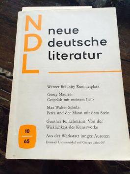 Het tijdschrift 'neue deutsche literatur' (volgens de trend van de tijd zonder hoofdletters) van oktober 1965, met een voorpublicatie van het nieuwe boek van Werner Bräunig; aanstootgevend, zou twee maanden later blijken.