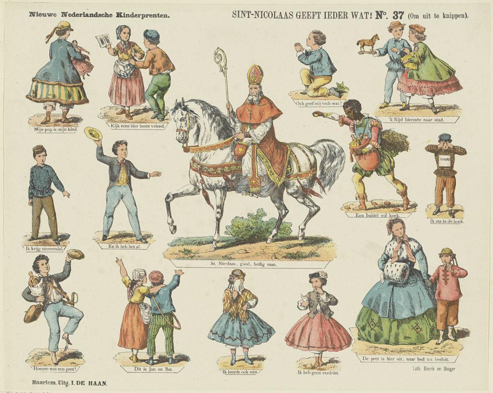 Sint-Nicolaas geeft ieder wat! (Om uit te knippen), Kleurenlitho, druk Emrik en Binger, uitgave I. de Haan, Haarlem, ca. 1875-1900 (Rijksmuseum)