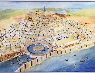 Zicht op de Punische haven van Carthago