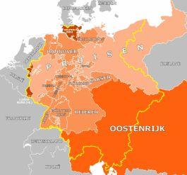 De Duitse Bond in 1860 (gele grenzen) met een deel van Oostenrijk - cc