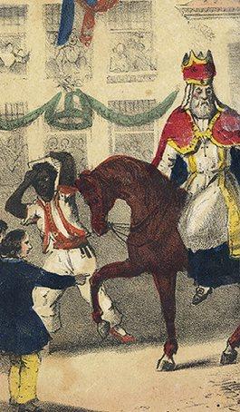 Zo ziet Zwarte Piet eruit in 1850 in het eerste boek van Jan Schenkman. Hij heeft geen rode lippen, geen oorringen, en zijn kleding lijkt in niets op de kleding die Zwarte Piet nu draagt. St. Nikolaas en zijn knecht, Jan Schenkman, G. Theod. Bom, Amsterdam (1850)