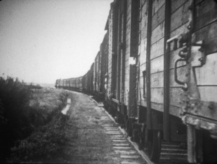 Goederenwagons, still uit de Westerborkfilm gemaakt door R.W. Breslauer in opdracht van A.K. Gemmeker, 1944