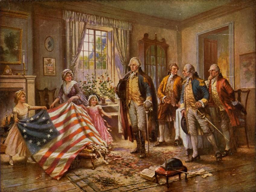 Betsy Ross en haar kinderen geven de genaaide vlag aan George Washington - cc