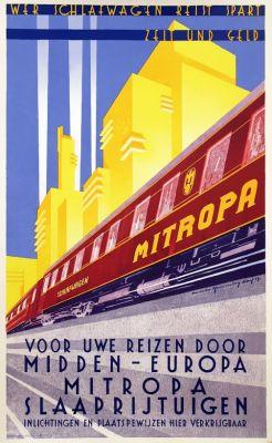 Affiche Mitropa slaaprijtuigen, Walter Hemming 1929