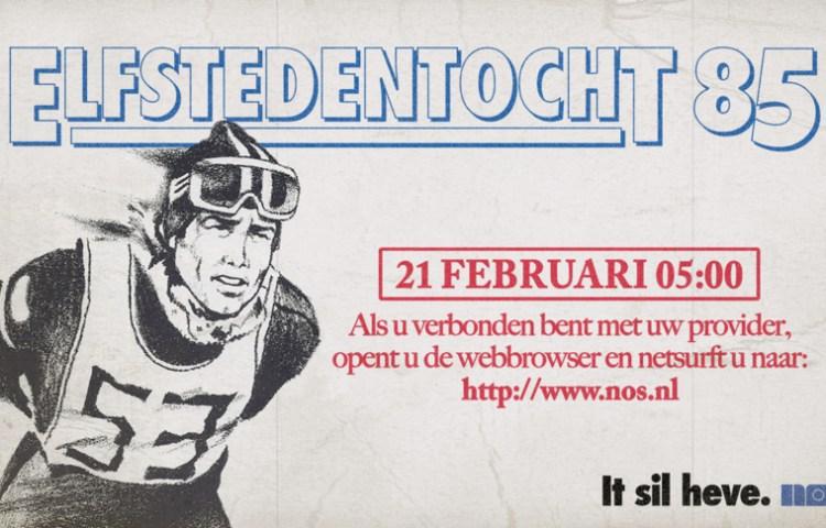 Affiche waarmee de NOS reclame maakte voor de Elfstedentocht van 1985