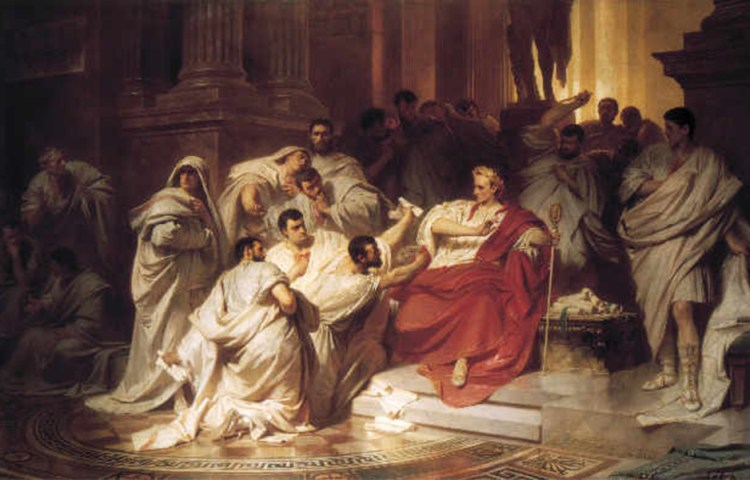 De dood van Julius Caesar (reproductie naar een anoniem schilderij, 1904).
