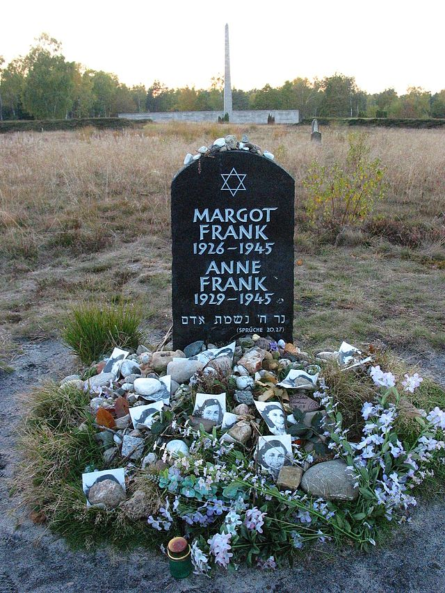 Symbolic tombstone for Anne and Margot Frank in Belgen-Belsen concentration camp