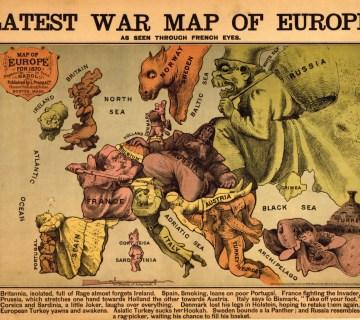 Cartoon-kaart 'Europa door de ogen van Frankrijk'