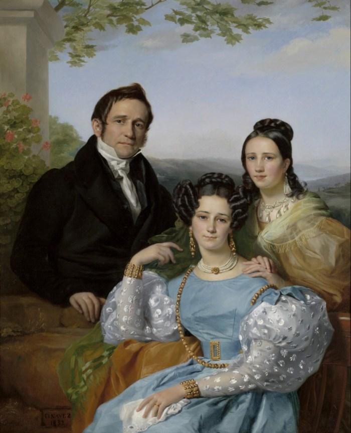 François-Joseph Navez (Charleroi 1787 - Brussel 1869) Portret van Théodore Joseph Jonet en zijn twee dochters, 1832