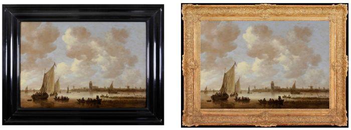 Gezicht op Dordrecht van Jan van Goyen, in twee verschillende lijsten (Dordrechts Museum)