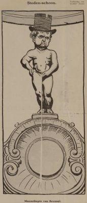 Cartoon Manneken Pis. Bron: ALbert Hahn in De Notenkraker, 30 sept. 1911