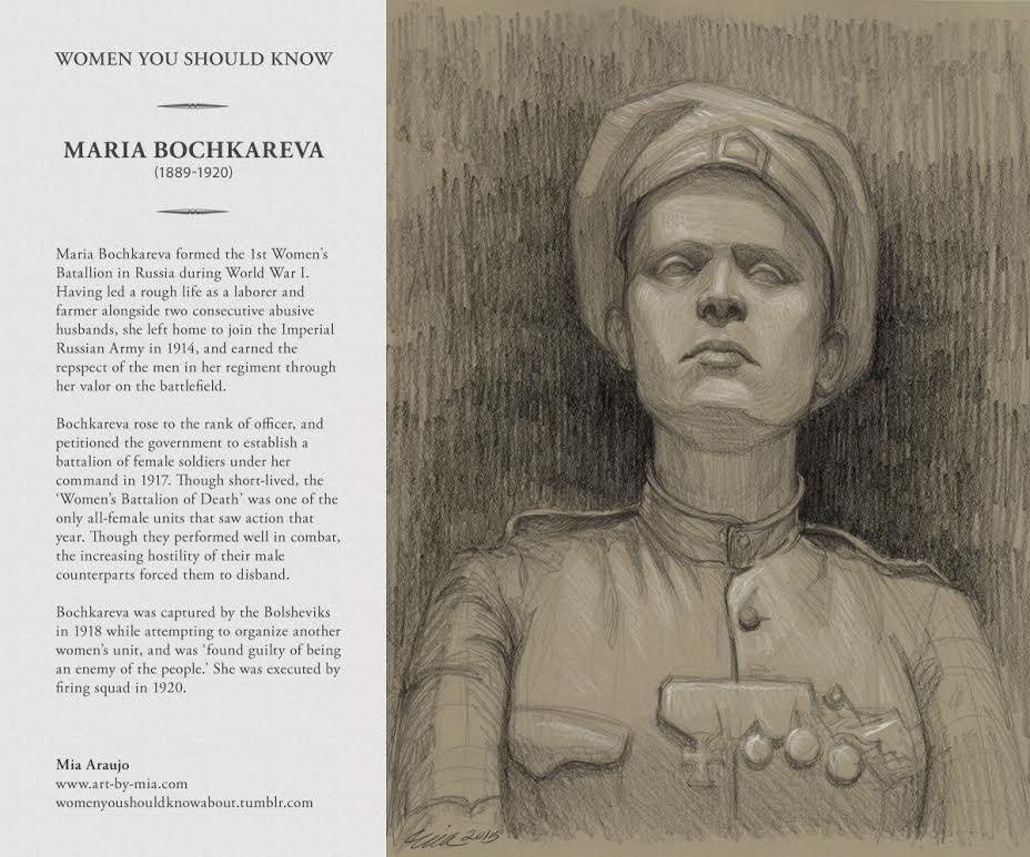 Tekening van Maria Bochkareva. (Bron: zie afbeelding)