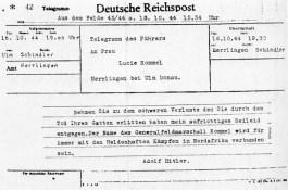 Condoleance-telegram van Adolf Hitler aan weduwe Lucie Rommel, 16.10.1944. Bron: boek