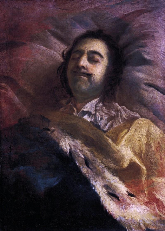 Peter de Grote op zijn sterfbed, 1725. Schilderij van Peters favoriete hofschilder Ivan Nikitin (ca.1690-1741). Bron: Wikimedia