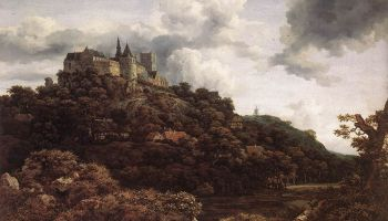 Gezicht op kasteel Bentheim - Jacob van Ruisdael, 1653 (National Gallery of Ireland, Dublin)