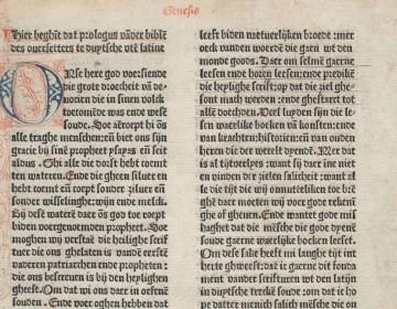 Proloog van de Delftse Bijbel uit 1477