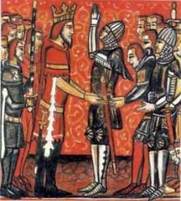Roland vouwt zijn handen ten teken van zijn manschap aan Karel de Grote. Illustratie van een middeleeuws manuscript.
