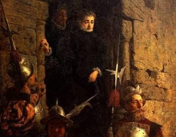 Vassili Polenov, Arrestatie van een vrouwelijke Hugenoot, 1875