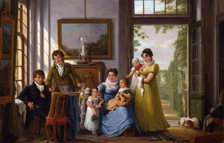 Abraham van Strij, Portret van Hendrik Weymans en zijn familie, 1816, paneel, 70,5 x 85 cm, Dordrechts Museum
