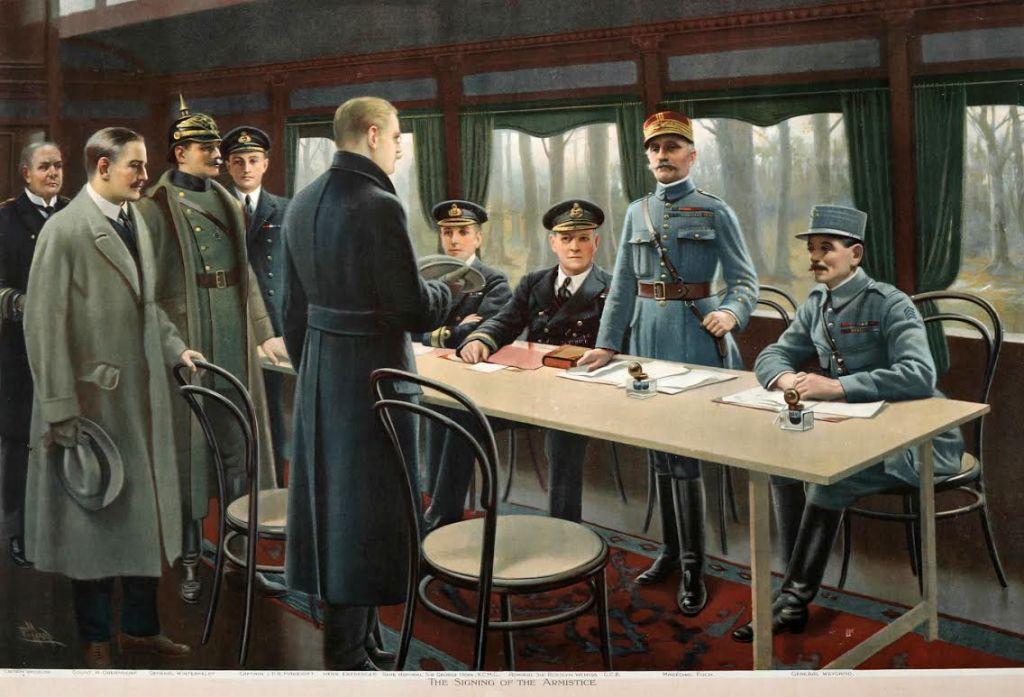 Ondertekening van de wapenstilstand door Pillard, 1918