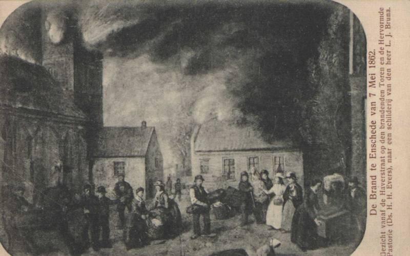 Ansichtkaart stadsbrand Enschede, 1862