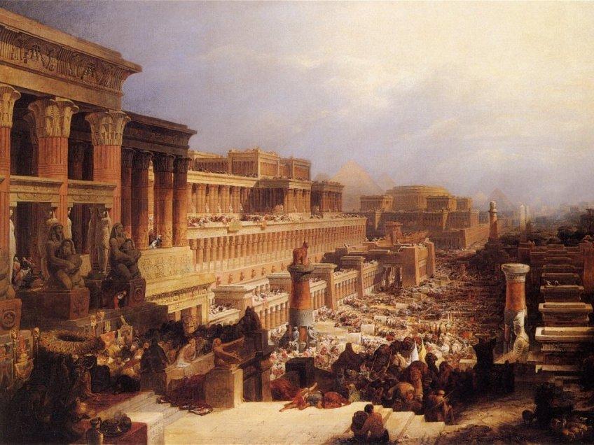 """""""De Israëlieten verlaten Egypte"""" David Roberts (1828)"""