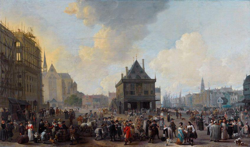 Stadhuis in aanbouw door Johannes Lingelbach (1656)