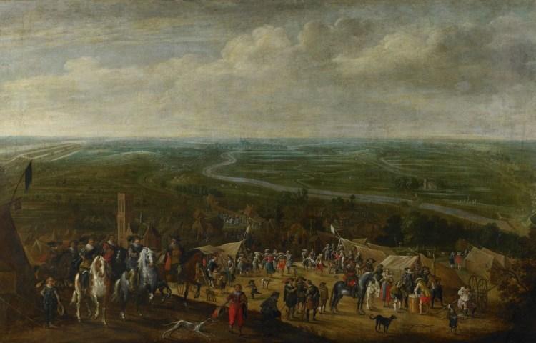 Frederik Hendrik in het legerkamp in Vught tijdens de belegering van 's-Hertogenbosch. Te zien zijn onder andere vechtende, dansende, gokkende en drinkende militairen. (Pauwels van Hillegaert)