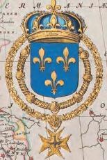 Het Franse koninklijke wapen in een luxe inkleuring, detail van de kaart van Frankrijk in deel VII van de Atlas Maior (1662)