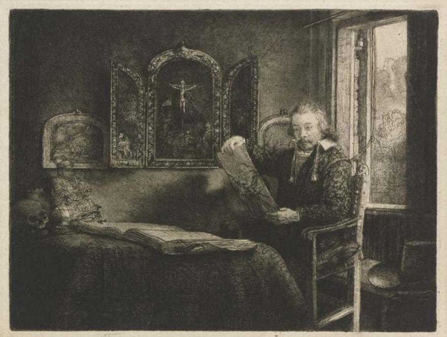 Abraham Francen en zijn Chinese beeldje, ets van Rembrandt 1657