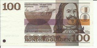 Bankbiljet van 100 gulden met Michiel de Ruyter (muntenkabinet.nl)
