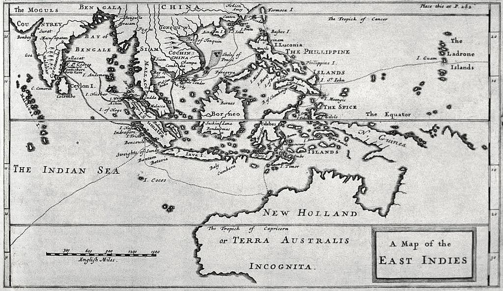 Kaart van Nederlands-Indië door William Dampier, 1697