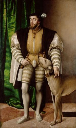 Karel V en zijn hond, een schilderij van Jakob Seisenegger uit 1532