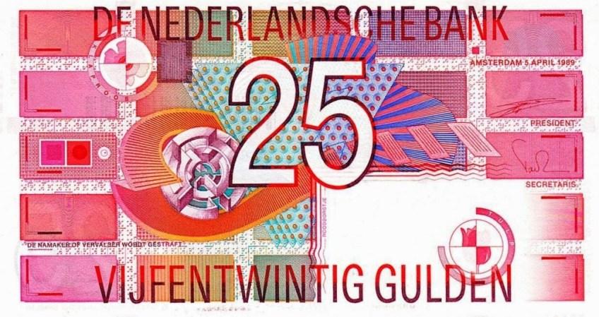 Laatste briefje van 25 gulden (worldbanknotescoins.com)