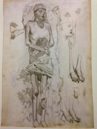 Mummie van Karel V, schets door Rico de Ortega, 1872, tekening in het STAM, Gent