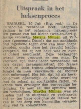 Uitspraak van het heksenproces tegen Martha Minnen, Limburgs Dagblad 10 juli 1950