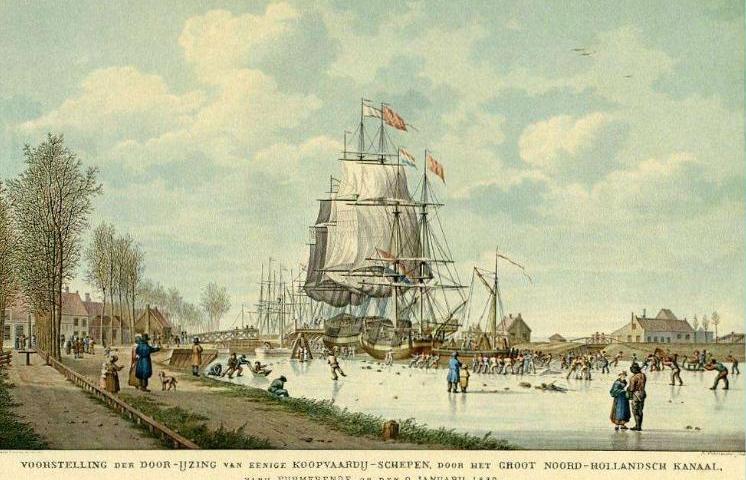 IJsbreker in actie bij Purmerend, 1830 - Een doorijzingsschip baant schepen in het Noord-Hollandsch Kanaal bij Purmerend een weg. In de lange, strenge winter van 1830, dooit het overdag op 9 januari en vallen er regen- en hagelbuien bij sterke westenwind.